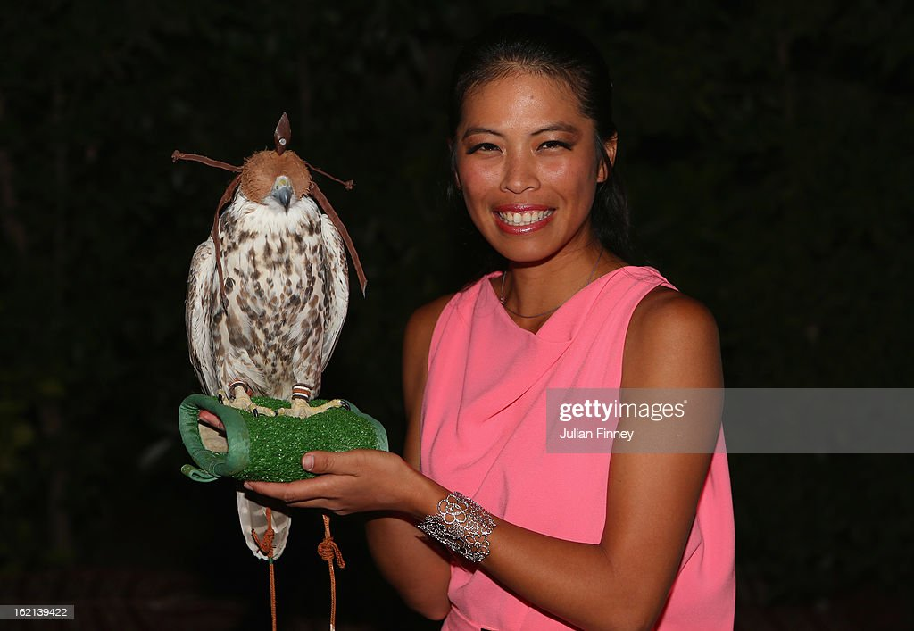 Hsieh Su-Wei of Taiwan poses with a falcon at the players party during day two of the WTA Dubai Duty Free Tennis Championship on February 19, 2013 in Dubai, United Arab Emirates.