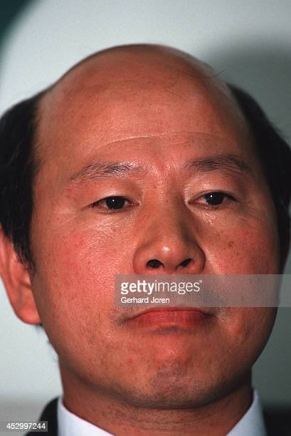 Hsu Hsinliang chairman of the Democratic Progressive Party at a press conference shortly before the national election in 1991 Hsu is a nativeborn...