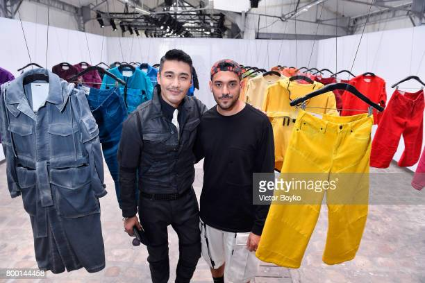 Hu Bing and Aitor Throup attend the GStar Raw Research III Collection launch during Menswear Spring/Summer 2018 show as part of Paris Fashion Week on...