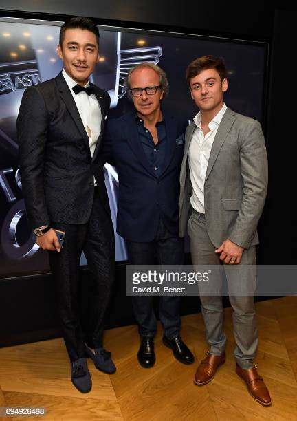 Hu Bing and Andrea Della Valle and Tom Daley attend the Aston Martin x Hogan London Fashion Week Men's Cocktail in partnership with GQ Style on June...
