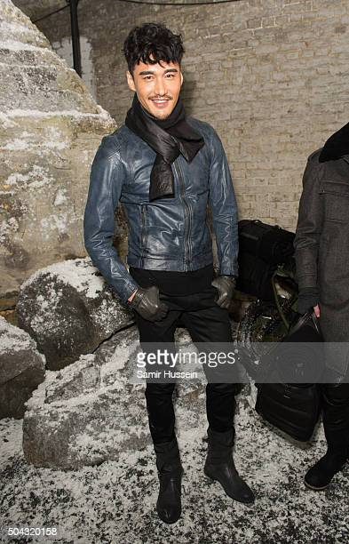 Hu Bing attends the Belstaff presentation during The London Collections Men AW16 at on January 10 2016 in London England