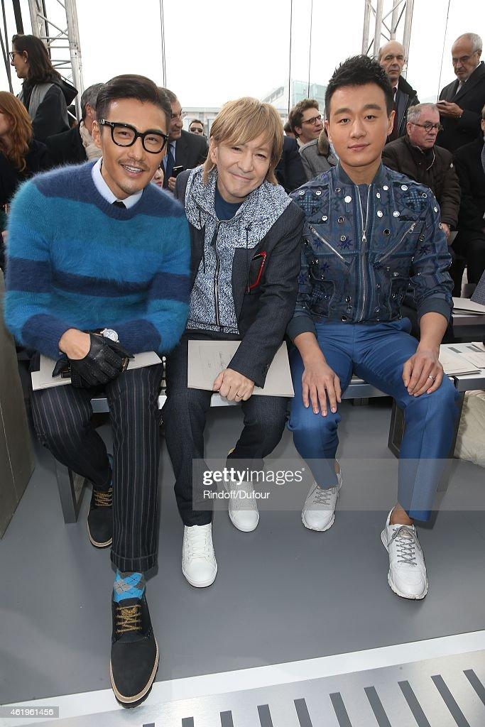 Hu Bing, Tetsuya Komuro and Dawel Tong attend the Louis Vuitton Menswear Fall/Winter 2015-2016 Show as part of Paris Fashion Week on January 22, 2015 in Paris, France.