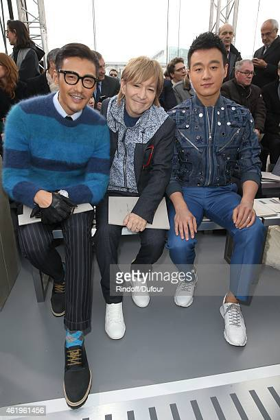 Hu Bing Tetsuya Komuro and Dawel Tong attend the Louis Vuitton Menswear Fall/Winter 20152016 Show as part of Paris Fashion Week on January 22 2015 in...