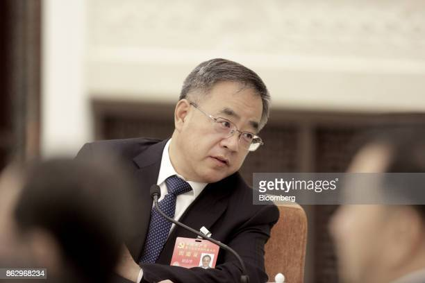 Hu Chunhua Chinese Communist Party secretary of Guangdong Province attends a delegation meeting at the Great Hall of the People during the 19th...