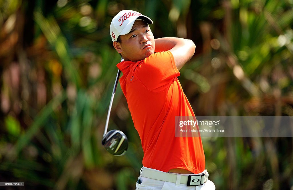 Hu Mu of China plays a shot during round four of the Asian Tour Qualifying School Final Stage at Springfield Royal Country Club on January 26, 2013 in Hua Hin, Thailand.