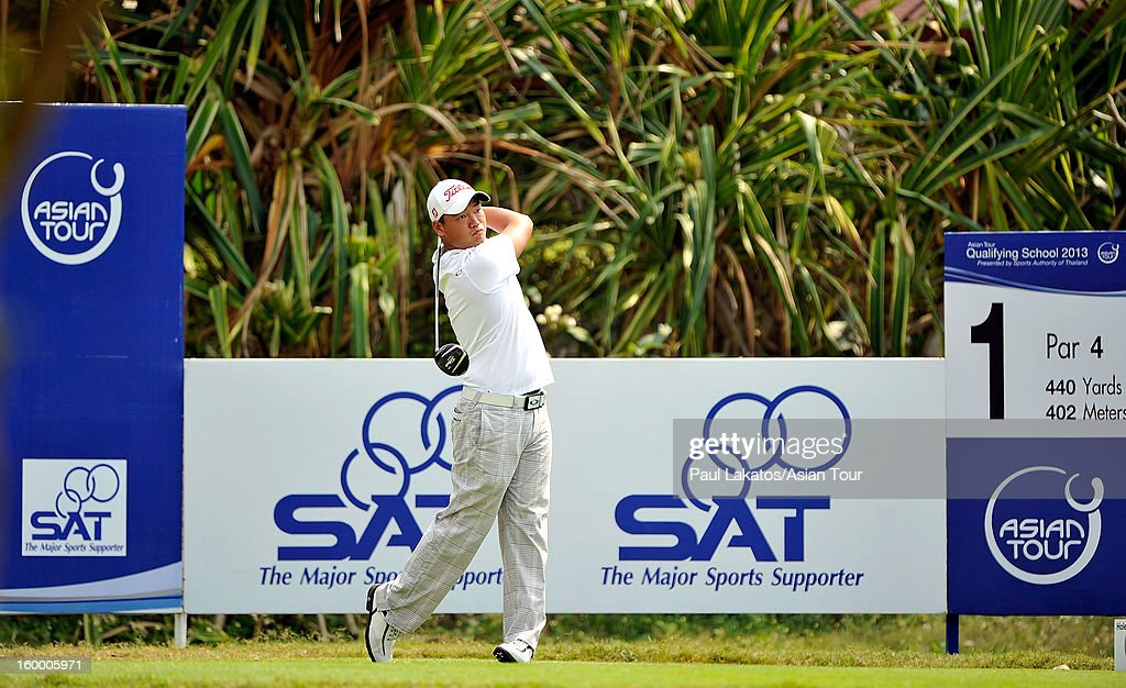Hu Mu of China plays a shot during round three of the Asian Tour Qualifying School Final Stage at Springfield Royal Country Club on January 25, 2013 in Hua Hin, Thailand.