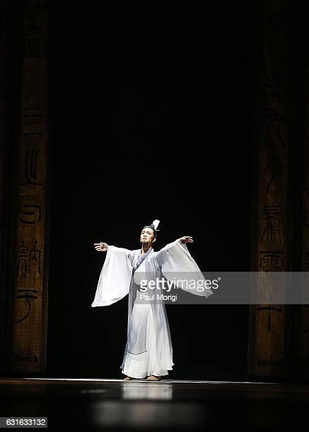 Hu Yang as Confucius performs in a special preview of The China National Opera Dance Drama Theater's production of 'Confucius' at The Kennedy Center...