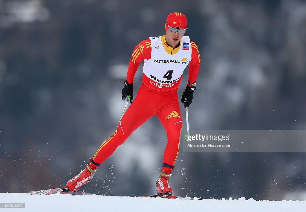 Hu Zhou of China in action during the Men's Cross Country Individual 15km at the FIS Nordic World Ski Championships on February 27, 2013 in Val di Fiemme, Italy.