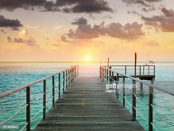 Huahine Sunset Scene at Jetty, French Polynesia
