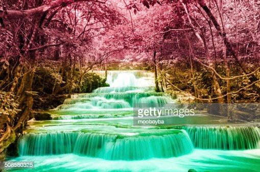 Huai Mae Khamin waterfall in deep forest National Park Kanjanabu : Stock Photo