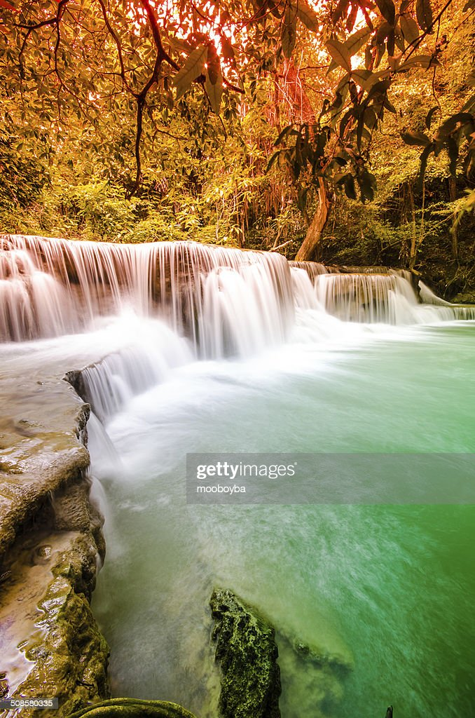 Huai Mae Khamin waterfall in deep forest National Park Kanjanabu : Stock Photo