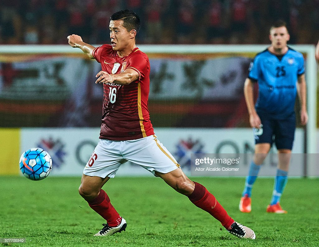 Huang Bowen of Guangzhou Evergrande in action during the AFC Asian Champions League match between Guangzhou Evergrande FC and Sydney FC at Tianhe Stadium on May 3, 2016 in Guangzhou, China.