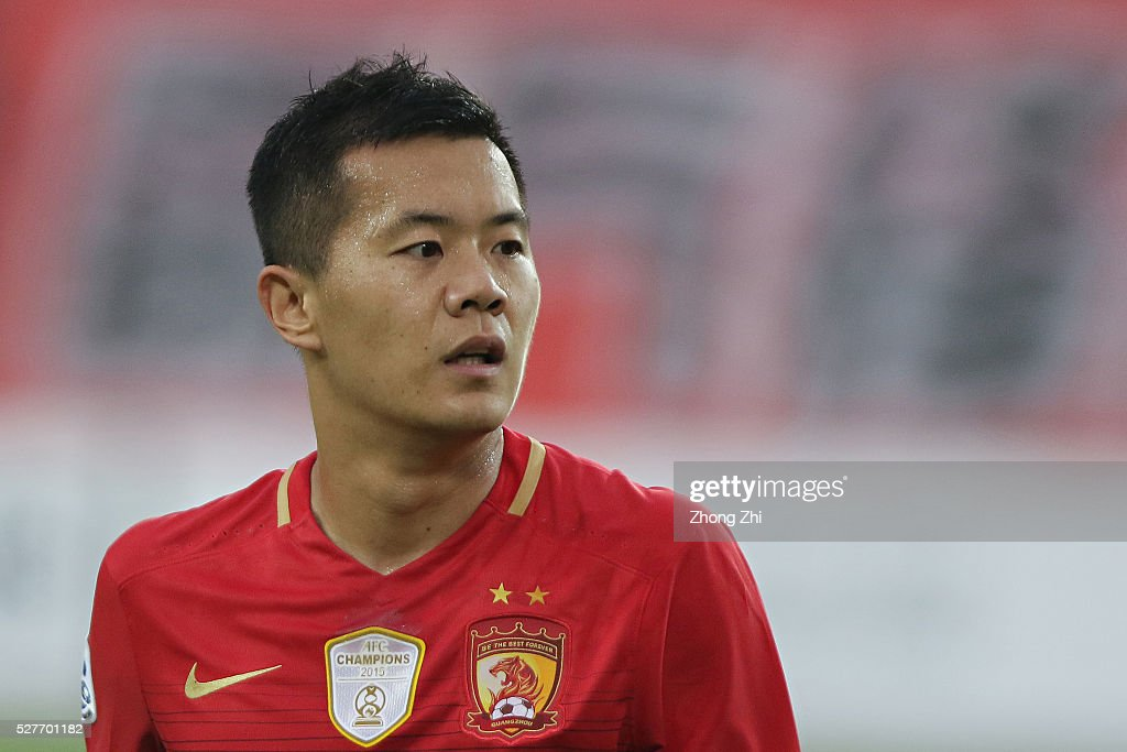 Huang Bowen of Guangzhou Evergrande looks on during the AFC Asian Champions League match between Guangzhou Evergrande FC and Sydney FC at Tianhe Stadium on May 3, 2016 in Guangzhou, China.