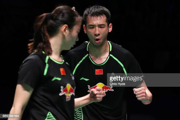 Huang Yaqiong and Lu Kai of China celebrate in the Finals match against Choi Solgyu and Chae Yoo Jung of Korea during the Sudirman Cup at the Carrara...