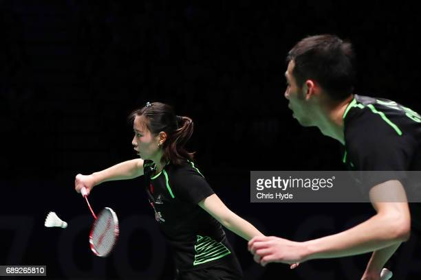 Huang Yaqiong of Korea competes in the Finals match partnered with Lu Kai against Choi Solgyu and Chae Yoo Jung of China during the Sudirman Cup at...