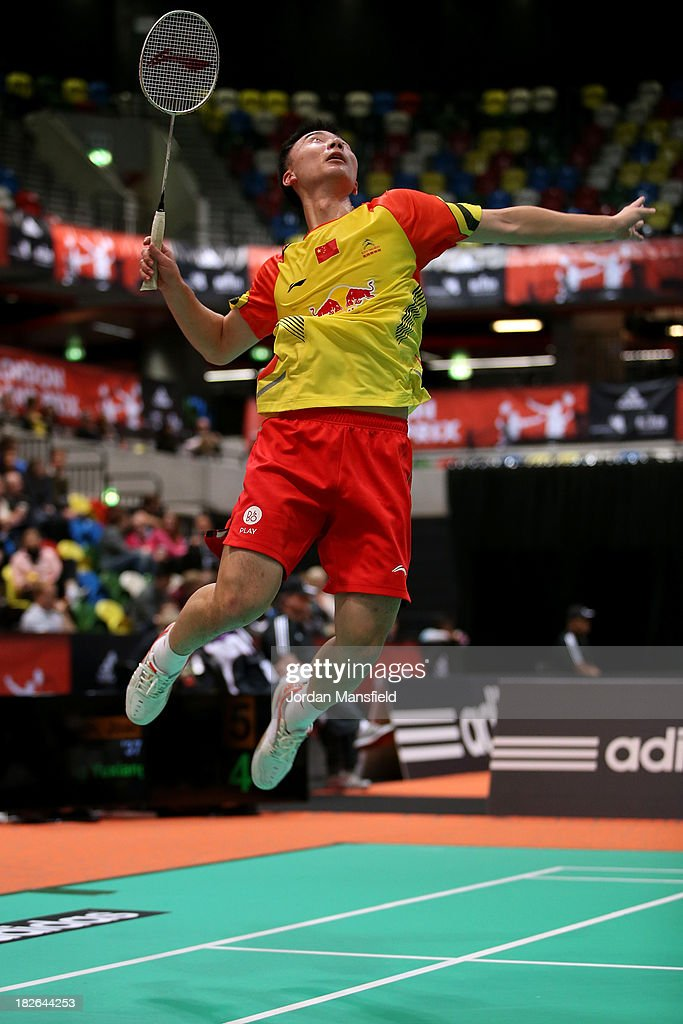 Huang Yuxiang of China in action in his second round match against Joachim Persson of Denmark during Day Two of the London Badminton Grand Prix at The Copper Box on October 2, 2013 in London, England.