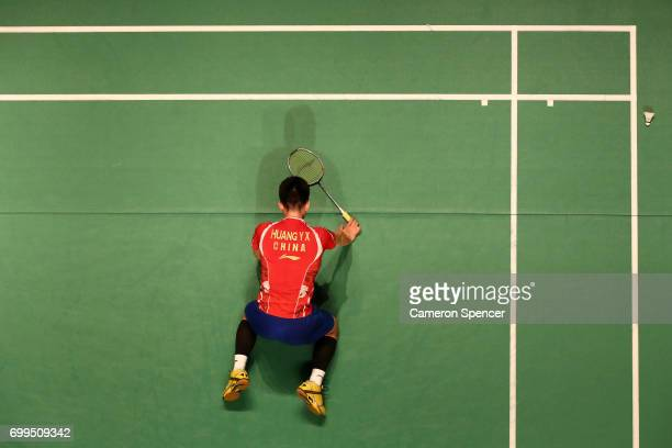 Huang Yuxiang of China lays on the court after missing a shot during his R16 match against Sai Praneeth of India during the Australian Badminton Open...