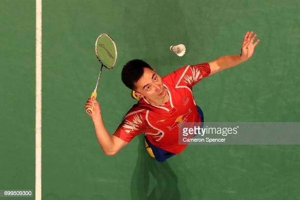 Huang Yuxiang of China plays a shot during his R16 match against Sai Praneeth of India during the Australian Badminton Open at Sydney Olympic Park on...