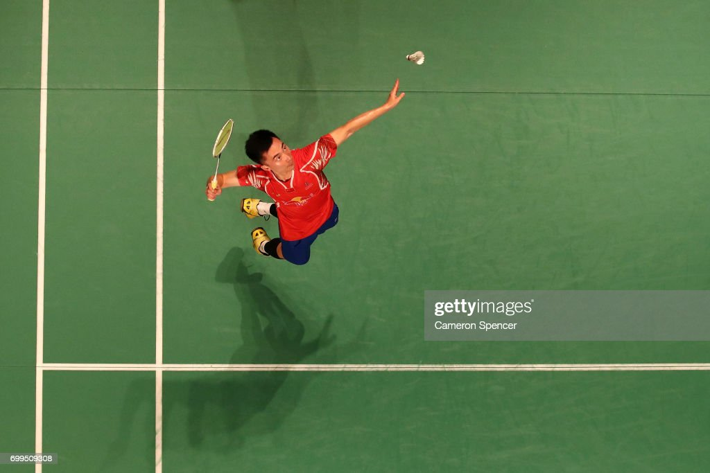 Huang Yuxiang Of China Plays A Shot During His R16 Match Against Sai Praneeth India