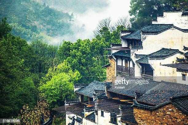 Huangling of Wuyuan City, a famous landmark for rapeflowers in spring and Hui Style traditional chinese folk house,which has white wall and cyan tiles'n
