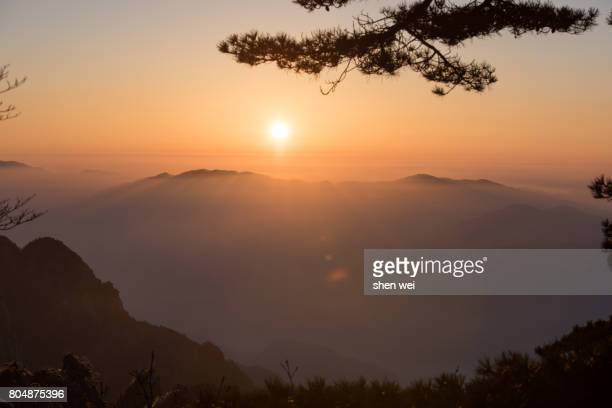 Huangshan Sunrise with Sea of Clouds in Winter, Anhui Province, China