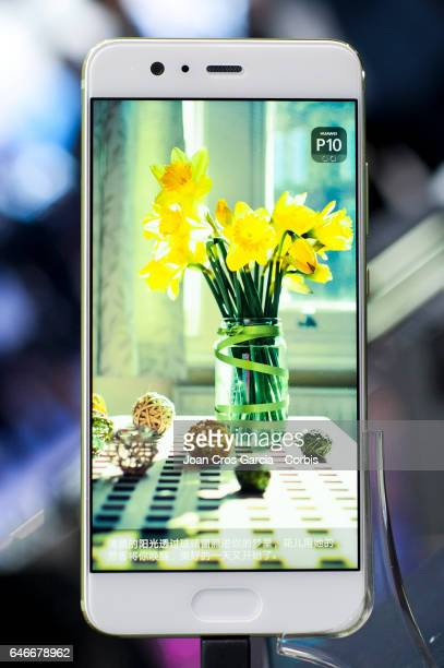 Huawei display the new Huawei P10 during the Mobile World Congress on February 28 2017 in Barcelona Spain