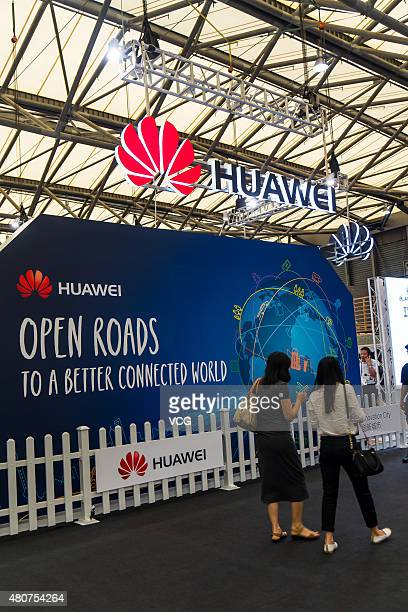 Huawei exhibition stand on the 2015 Mobile World Congress Conference on July 15 2015 in Shanghai China The 2015 Mobile World Congress Conference...