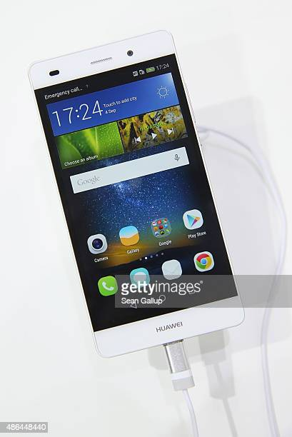 Huawei P8 lite smartphone lies on display at the Huawei stand at the 2015 IFA consumer electronics and appliances trade fair on September 4 2015 in...