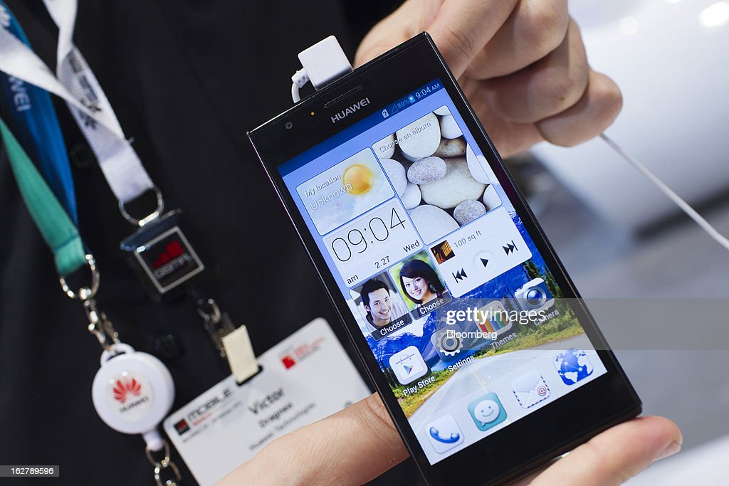 A Huawei Technologies Co. Ascend P2 smartphone is displayed for a photograph at the Mobile World Congress in Barcelona, Spain, on Wednesday, Feb. 27, 2013. The Mobile World Congress, where 1,500 exhibitors converge to discuss the future of wireless communication, is a global showcase for the mobile technology industry and runs from Feb. 25 through Feb. 28. Photographer: Angel Navarrete/Bloomberg via Getty Images
