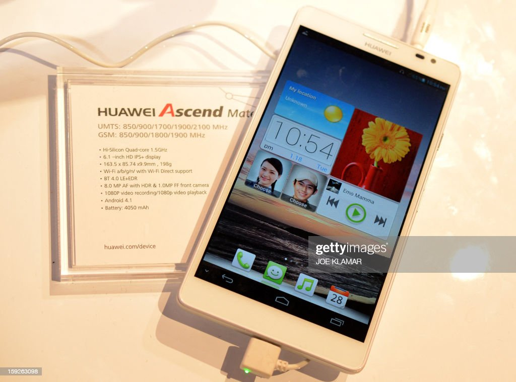 Huawei's Ascend Mate smartphone at the Huawei booh during the 2013 International CES at the Las Vegas Convention Center on January 10, 2013 in Las Vegas, Nevada. CES, the world's largest annual consumer technology trade show, runs from January 8-11 and is expected to feature 3,100 exhibitors showing off their latest products and services to about 150,000 attendees.