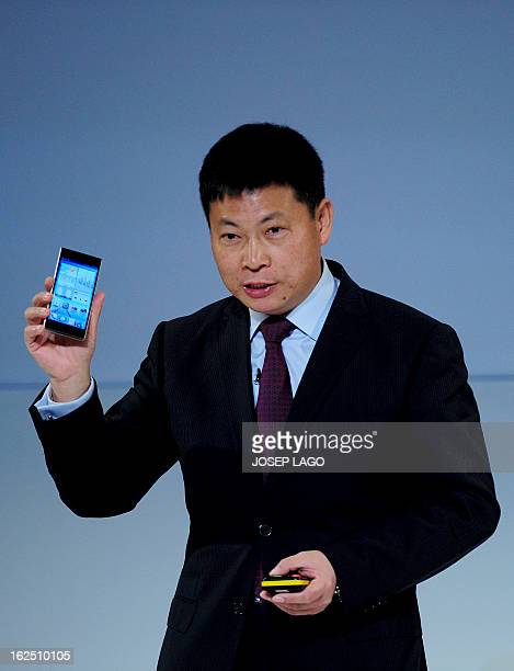 Huawei's Consumer Business Group Chief Executive Officer Richard Yu presents his company's new smartphone 'Ascend P2' during a press conference in...