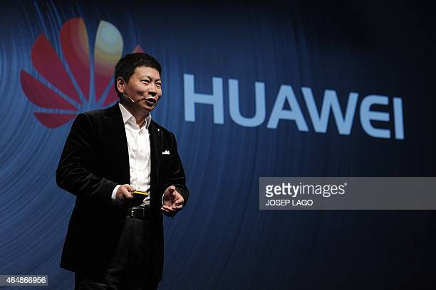 Huawei's Consumer Business Group Chief Executive Officer Richard Yu presents his company's new device 'Talkband N1' during a press conference in...