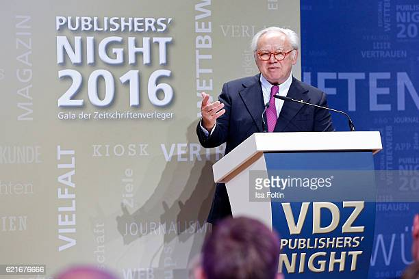 Hubert Burda gives a speech during the VDZ Publishers' Night 2016 at Deutsche Telekom's representative office on November 7 2016 in Berlin Germany
