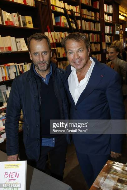 Hubert Le Gall and Bertrand Matteoli attend Bertrand Matteoli Signing Book 'Bien Dans Sa Peau' at Librairie Galignali on March 18 2017 in Paris France