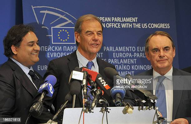 Hubert Pirker member of the European Parliament from the European People's Party together with MEP Timothy Kirkhope of UK and Claude Moraes European...