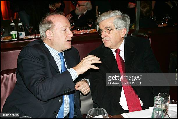 Hubert Vedrine and JeanPierre Chevenement at 100th Episode Of 'Campus' Of Guillaume Durant At Le Cafe De L'Homme Restaurant At The Trocadero