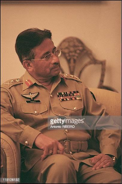 Hubert Vedrine on official visit to Pakistan and India in Islamabad Pakistan on November 02 2001 Pervez Musharraf President of Pakistan