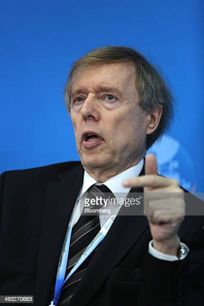 Hubertus von Grunberg chairman of the board of directors at ABB Ltd speaks during a session at the St Petersburg International Economic Forum in...