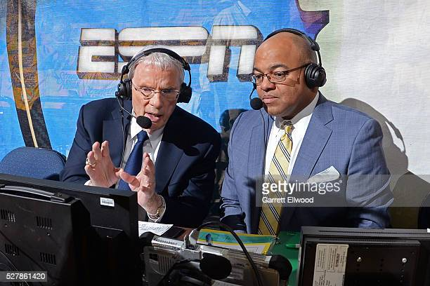 Hubie Brown and Mike Tirico analyze during the game between the Golden State Warriors and the Portland Trail Blazers in Game One of the Western...