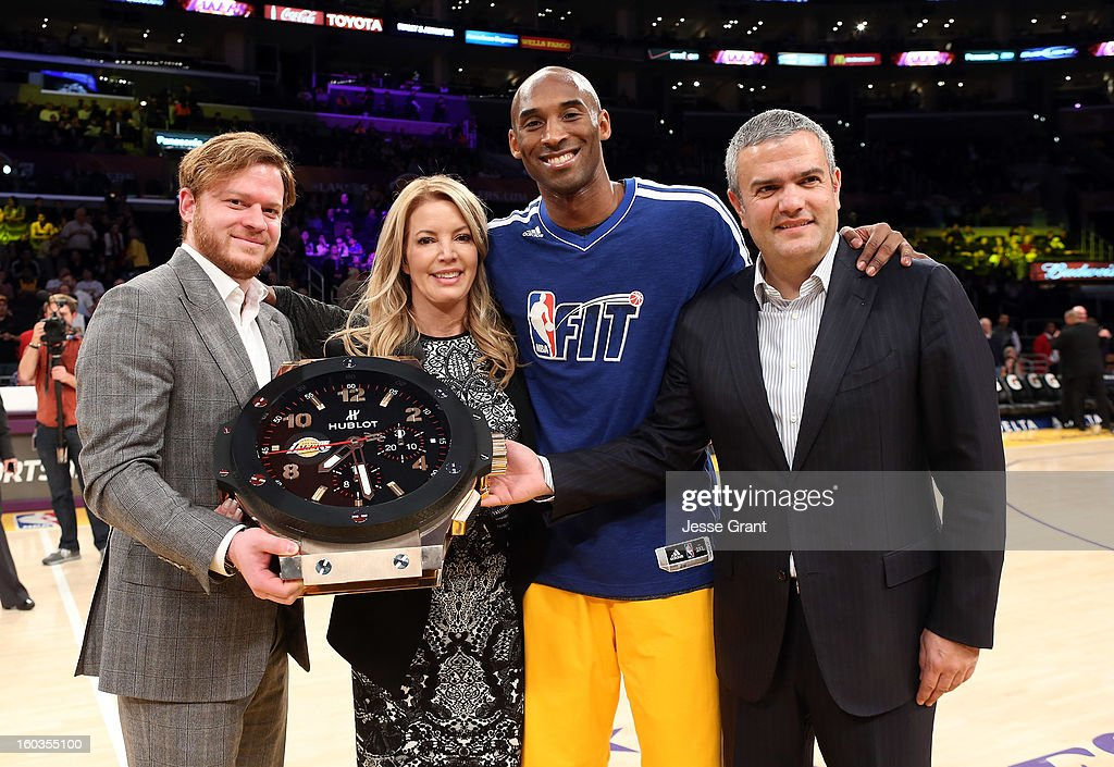 Hublot Beverly Hills Boutique President, Greg Simonian, Los Angeles Lakers Executive Vice President of Business Operations, Jeanie Buss, Los Angeles Laker Kobe Bryant and CEO of Hublot, Ricardo Guadalupe are seen at center court during a presentation naming Hublot the official timekeeper of the Los Angeles Lakers at Staples Center on January 29, 2013 in Los Angeles, California.