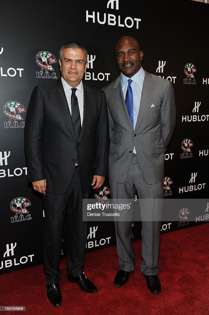 Hublot CEO Ricardo Guadalupe and boxing champion Evander Holyfield attend 'A Legendary Evening With Hublot And WBC' at Bellagio Las Vegas on September 29, 2012 in Las Vegas, Nevada.