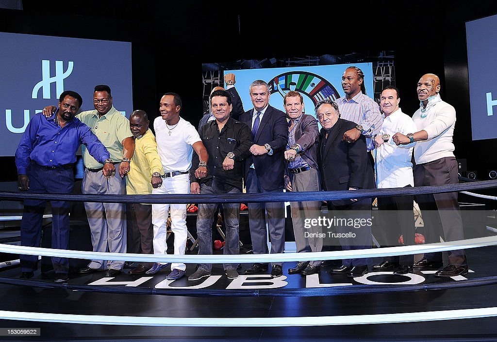 Hublot Ceo Ricardo Guadalupe (C) , Bob Sheridan (5th from R), WBC Presicent Jose Sulaiman (4th from R), and boxing champions Tommy Hearns, Larry Holmes, Azumah Nelson, Sugar Ray Leonard, George Foreman, Jose Cesar Chavez, Roberto Duran, Lennox Lewis Jeff Fenech, Mike Tyson during a press conference at Bellagio Las Vegas on September 29, 2012 in Las Vegas, Nevada.