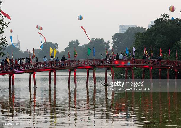 Huc bridge on hoan kiem lake hanoi Vietnam on February 5 2011 in Hanoi Vietnam