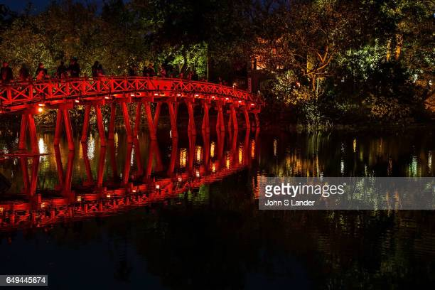 Huc Bridge over Hoan Kiem Lake or the Lake of the Returned Sword is located in the historical center of Hanoi Ngoc Son Temple is connected to the...