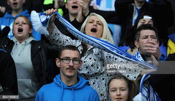 Huddersfield fans during The Emirates FA Cup Third Round between Huddersfield Town and Reading at John Smiths Stadium on January 9 2016 in...
