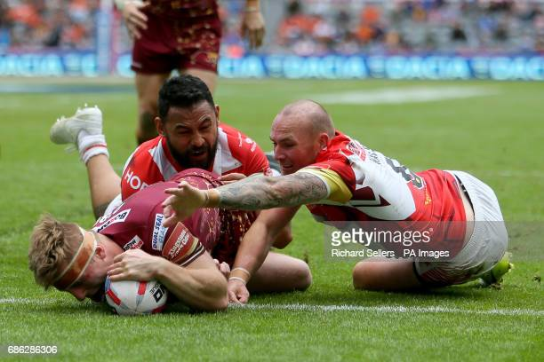 Huddersfield giants Adam O Brien scores his late try during day two of the Betfred Super League Magic Weekend at St James' Park Newcastle