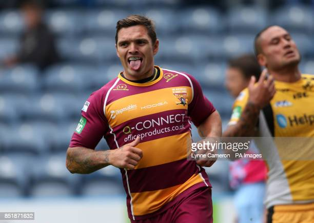 Huddersfield Giant's Danny Brough celebrates a try during the Super League match at the John Smith's Stadium Huddersfield