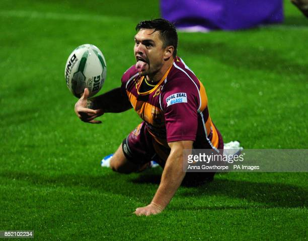 Huddersfield Giants Danny Brough celebrates after scoring a try during the Super League Elimination Play Off at the John Smith's Stadium Huddersfield