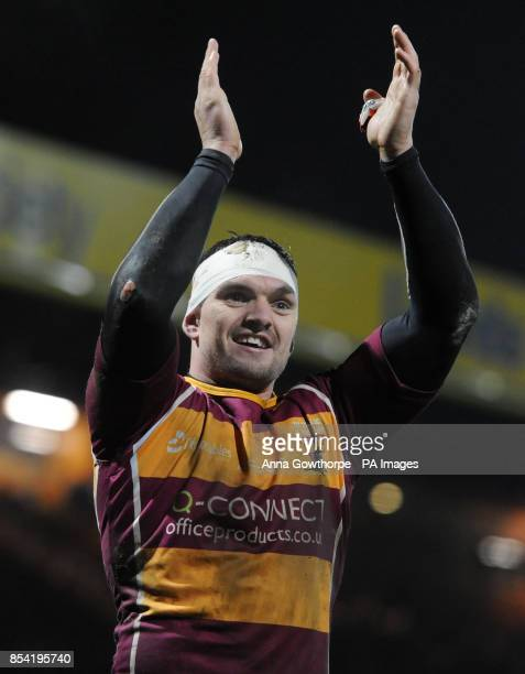Huddersfield Giants' Danny Brough celebrates his team's victory after the Super League match at Headingley Carnegie Leeds