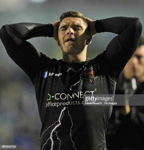 Huddersfield Giants' Danny Brough is dejected at the final whistle during the Super League SemiFinal match at The Halliwell Jones Stadium Warrington